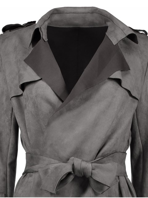 unique Faux Suede Long Trench Coat - GRAY M Mobile