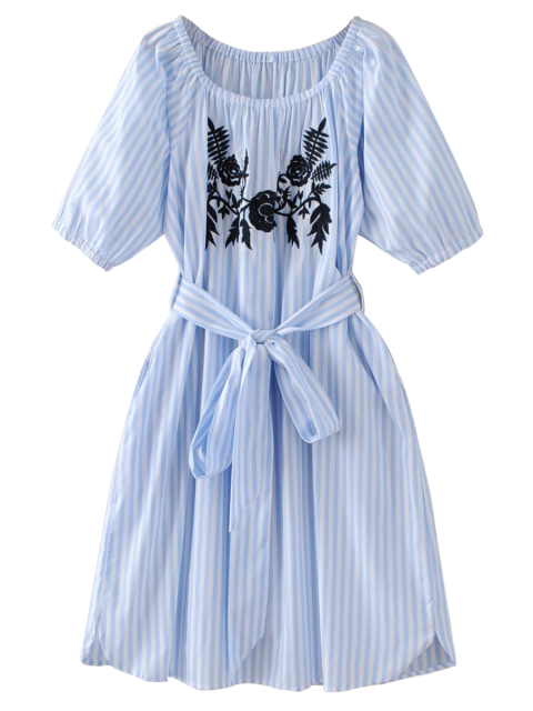 latest Striped Floral Embroidered Dress - LIGHT BLUE S Mobile
