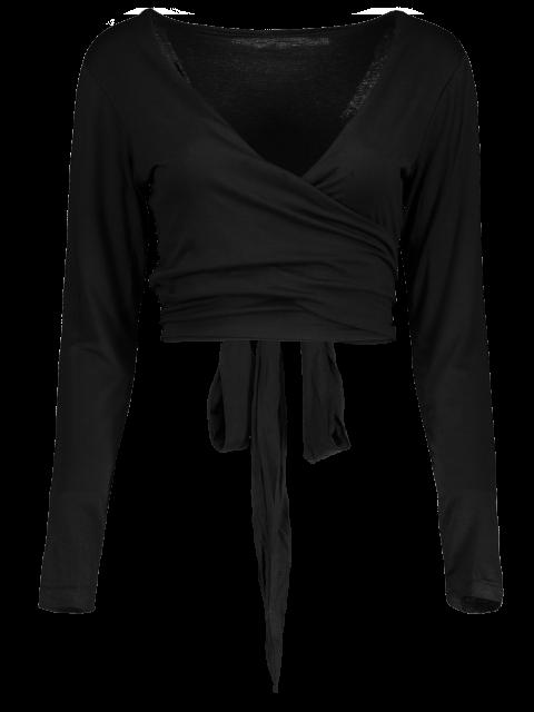 womens Long Sleeve Wrap Front Criss Cross Crop Top - BLACK S Mobile