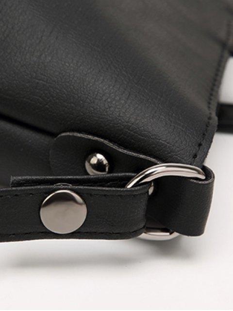 chic Faux Leather 3PCS Tote Bag Set - BLACK  Mobile