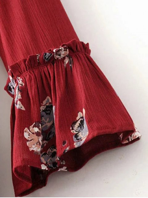 fashion Floral Pleated Tunic Dress - BURGUNDY M Mobile