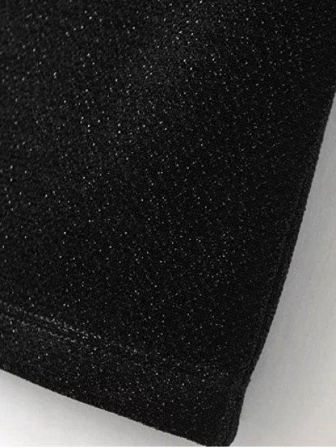 outfit Low Back Glitter Bodycon Slip Dress - BLACK L Mobile