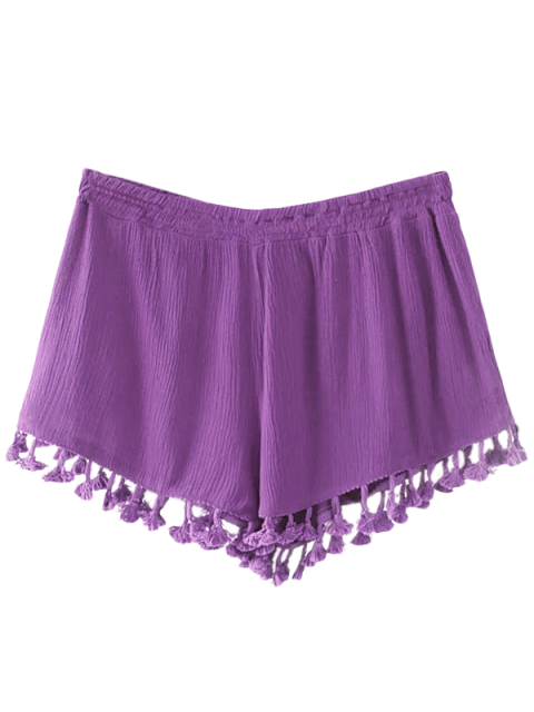 sale Crinkly Tasselled Shorts - PURPLE M Mobile