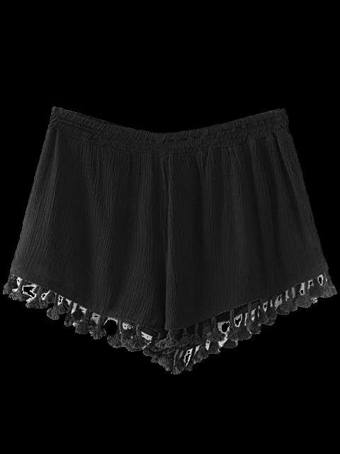 buy Crinkly Tasselled Shorts - BLACK M Mobile