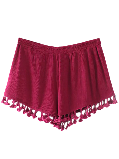 women's Crinkly Tasselled Shorts - RED L Mobile