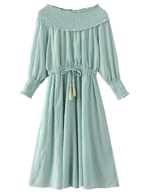 new Off Shoulder Smocked Drawstring Embroidered Dress - LIGHT GREEN M Mobile