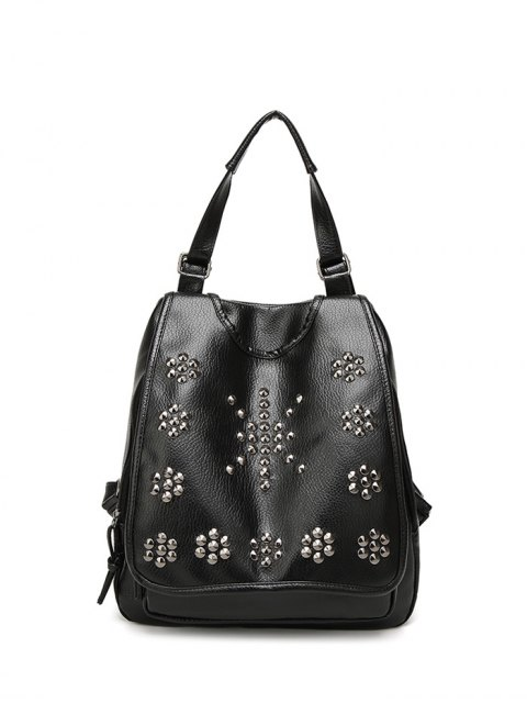 trendy Flapped Rivet Backpack - BLACK  Mobile