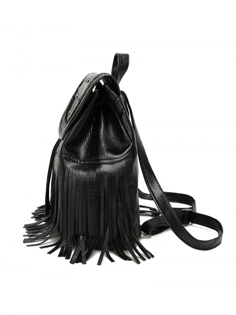 fashion Braided Rivet Fringe Backpack - BLACK  Mobile