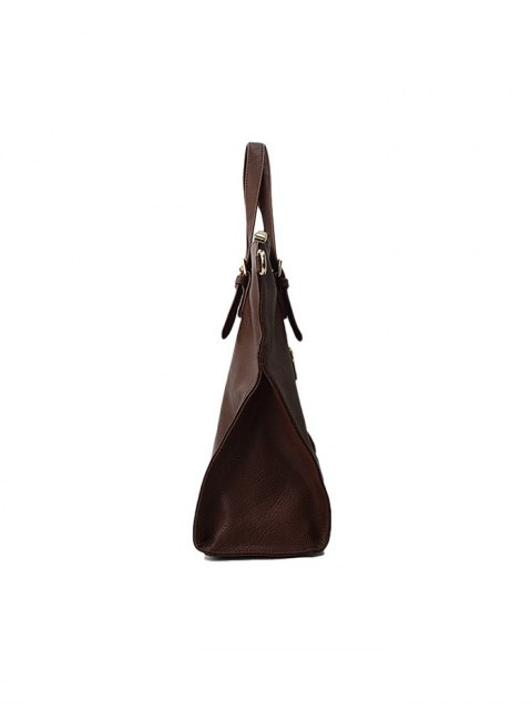 new Buckle Straps Faux Leather Tote Bag - BROWN  Mobile