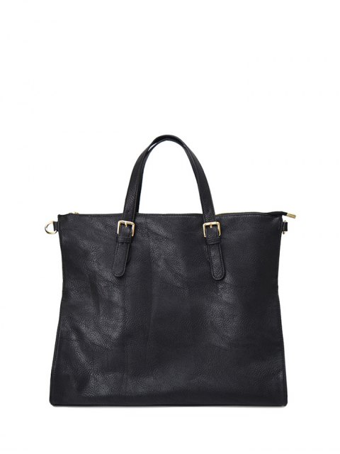 hot Buckle Straps Faux Leather Tote Bag - BLACK  Mobile