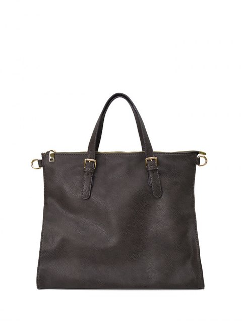 outfit Buckle Straps Faux Leather Tote Bag - GRAY  Mobile