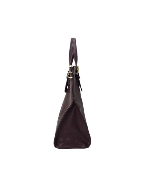 outfits Buckle Straps Faux Leather Tote Bag - DEEP BROWN  Mobile