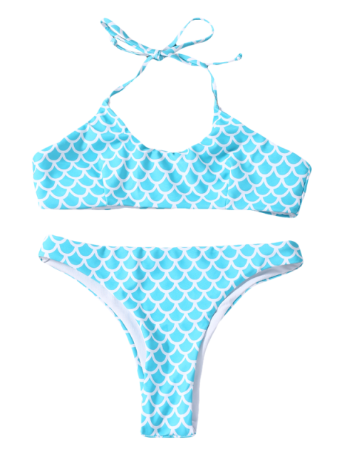 womens Fish Scale Print Mermaid Bikini - TURQUOISE S Mobile