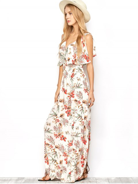 shops Side Slit Maxi Floral Dress - FLORAL S Mobile