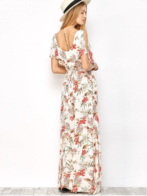 shop Side Slit Maxi Floral Dress - FLORAL M Mobile