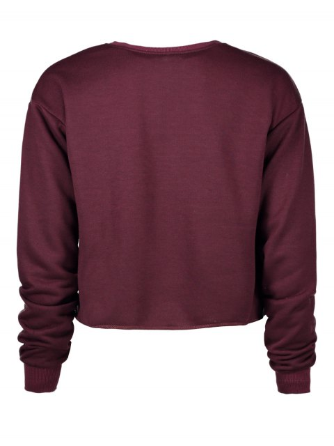 lady Letter Print Crop Sweatshirt - WINE RED S Mobile