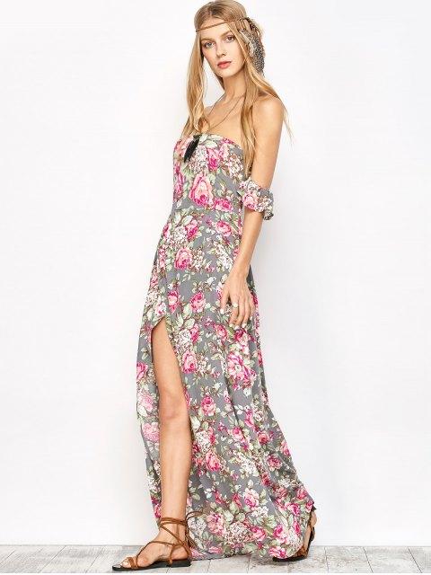 women's Maxi Off The Shoulder Floral Dress - FLORAL S Mobile