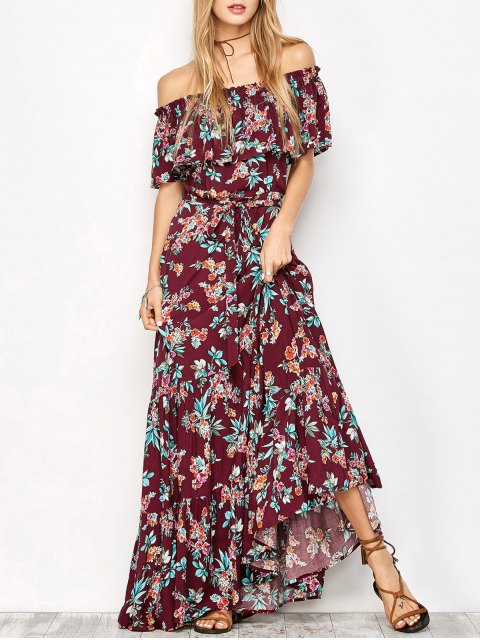 lady Ruffles Maxi Off The Shoulder Dress - FLORAL M Mobile