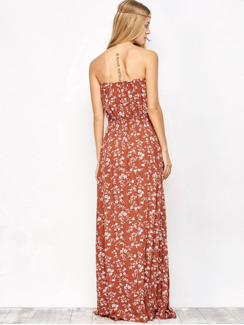 online Tiny Floral Maxi Bandeau Dress - ORANGE RED L Mobile