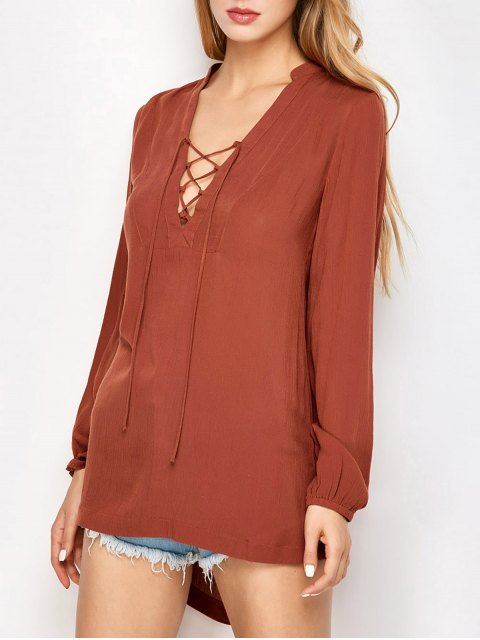 trendy Long Sleeved Lace Up Top - DARK AUBURN M Mobile
