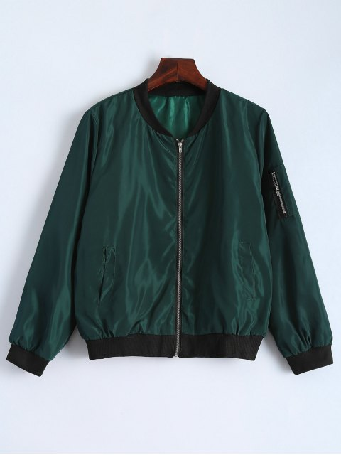 chic Zip Detail Bomber Jacket - GREEN L Mobile