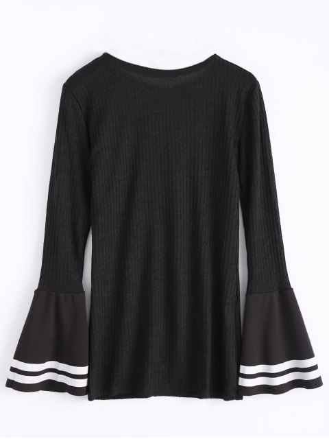 sale Contrasting Bell Sleeve Layering Top - BLACK M Mobile