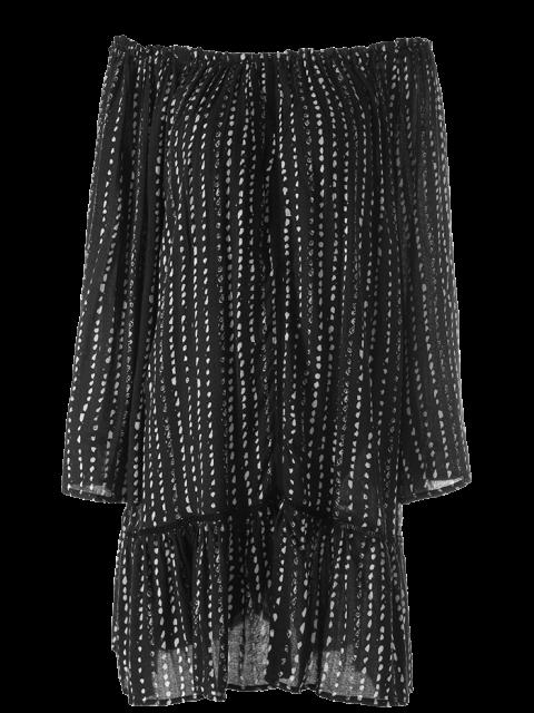 chic Printed Off Shoulder Tunic Dress - BLACK M Mobile