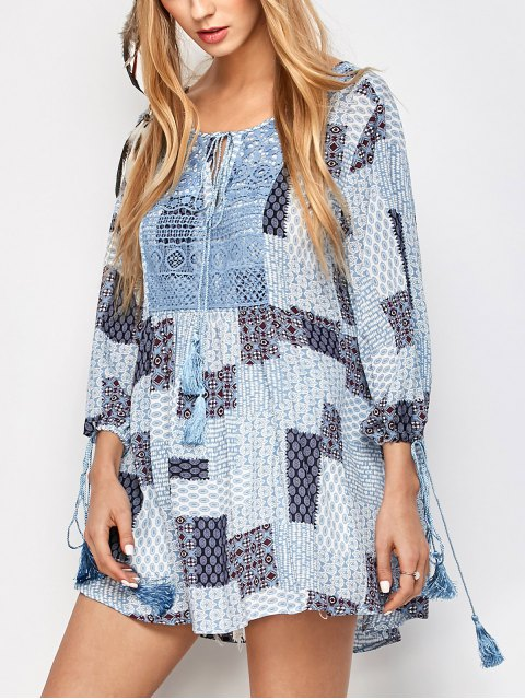 fancy Tassel String Patchwork Print Tunic Top - MULTICOLOR M Mobile