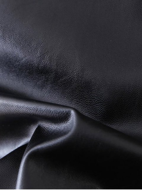 affordable PU Leather Stretchy A-Line Skirt - BLACK M Mobile