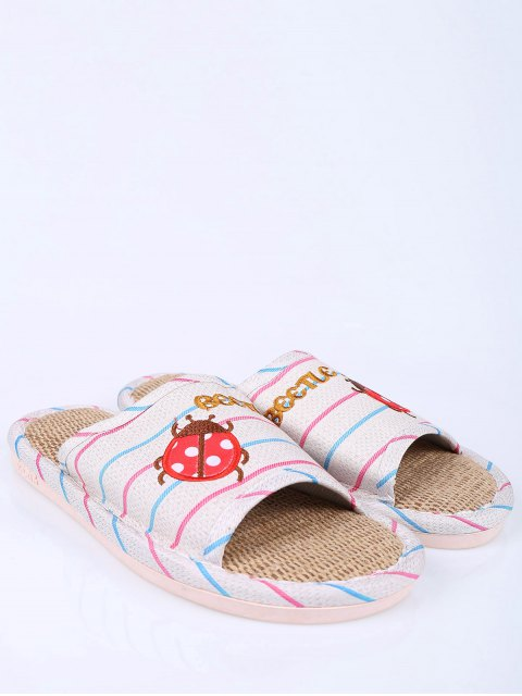 shop Insect Striped Jute Panel House Slippers - BLUE SIZE(38-39) Mobile