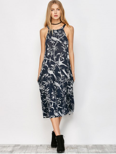 affordable Bohemian Printed Dress with Pockets - CADETBLUE M Mobile