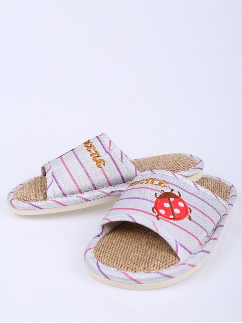 outfits Insect Striped Jute Panel House Slippers - PURPLE SIZE(40-41) Mobile