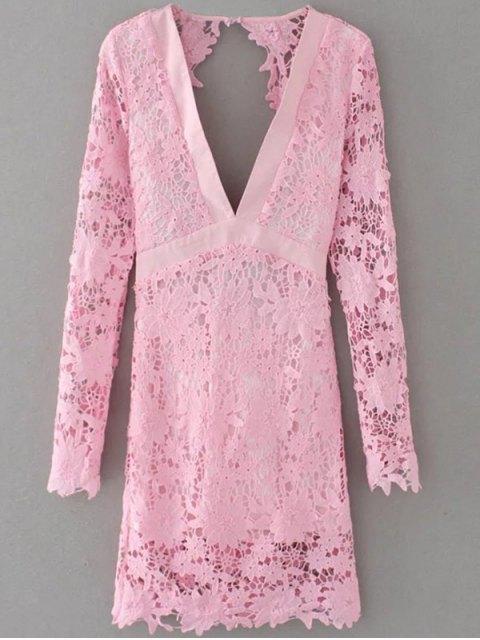 shops Plunge Lace Low Cut Dress - PINK S Mobile