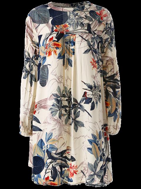 new Plant Print Choker Long Sleeve Tunic Dress - MULTICOLOR L Mobile