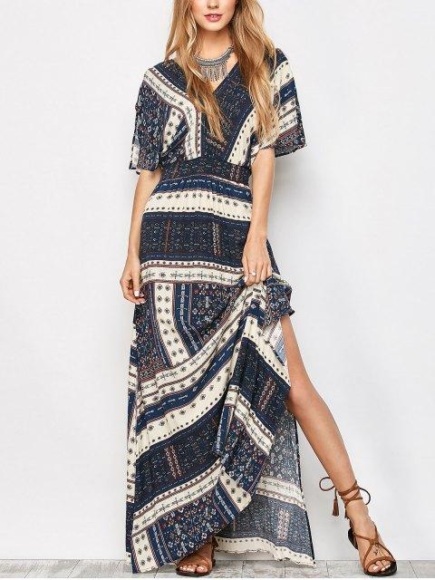 women Printed Tie Back Slit Maxi Blouson Dress - PURPLISH BLUE L Mobile