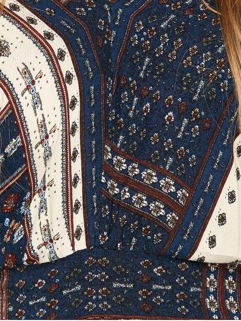 women's Printed Tie Back Slit Maxi Blouson Dress - PURPLISH BLUE M Mobile