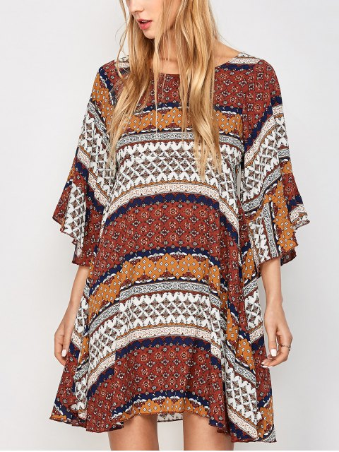 buy Criss Cross Tribal Print Kimono Dress - MULTICOLOR M Mobile