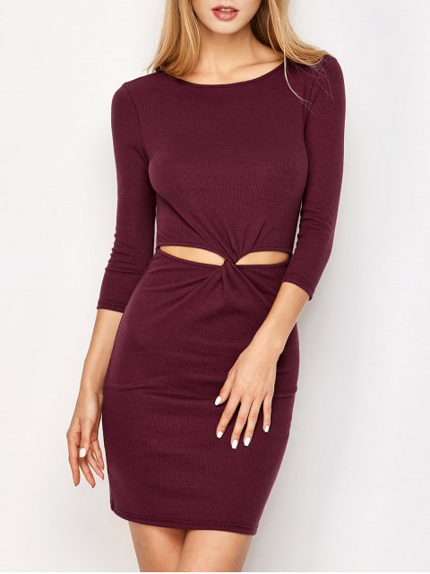 best Twist Front Cut Out Bodycon Dress - BURGUNDY S Mobile