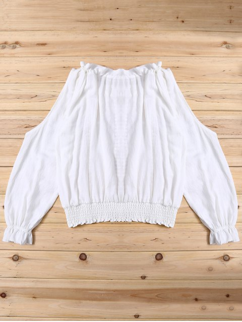 outfit Frilled Smcoked Cold Shoulder Blouse - WHITE ONE SIZE Mobile