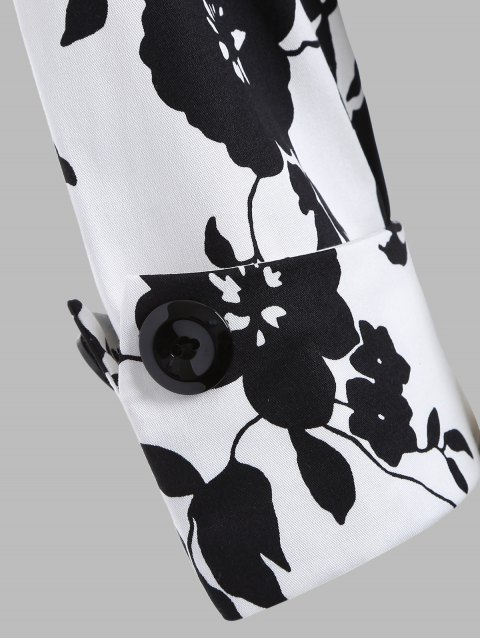 fashion Printed Vintage Swing Dress - WHITE AND BLACK S Mobile