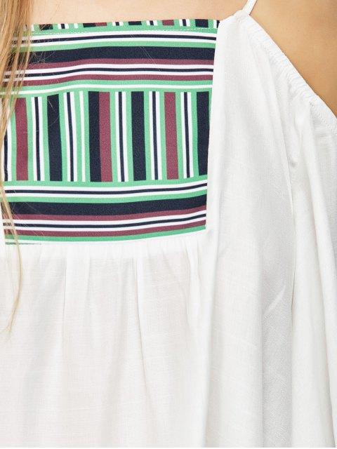 shops Halter Print Panel Cold Shoulder Blouse - WHITE ONE SIZE Mobile