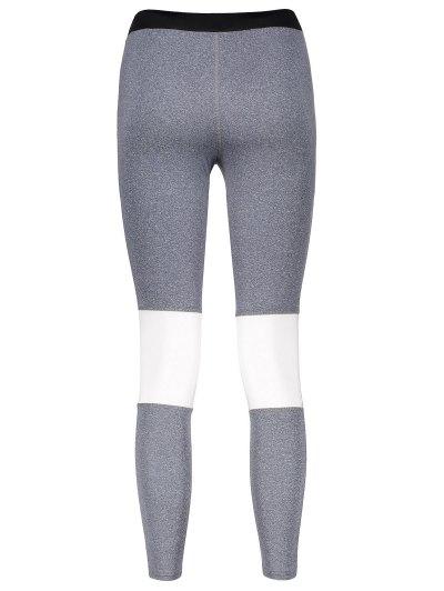 Color Block Skinny Yoga Leggings - GRAY S Mobile