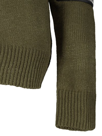 Pullover Zipper V Neck Sweater - ARMY GREEN M Mobile