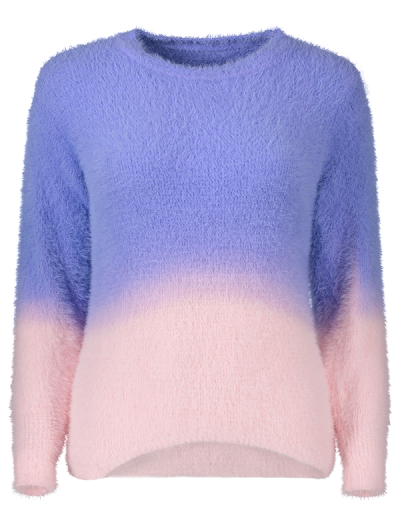Ombre High-Low Sweater - PURPLE ONE SIZE Mobile