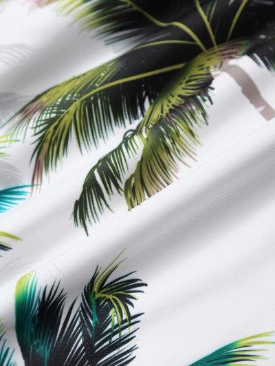 Palm Tree Print High Waisted Bikini Set - WHITE M Mobile