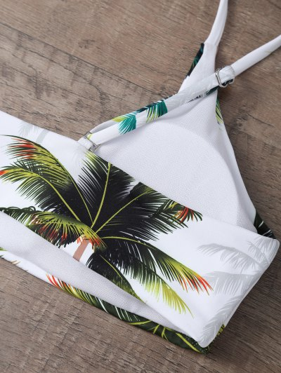 Palm Tree Print High Waisted Bikini Set - WHITE S Mobile