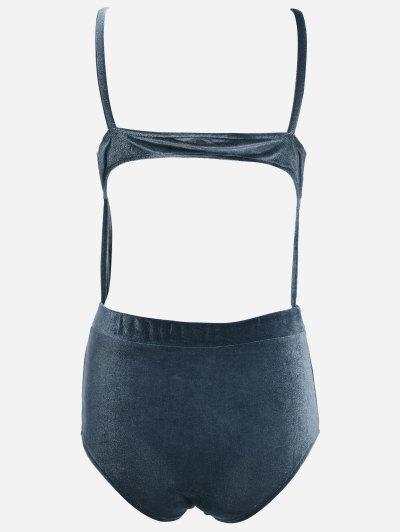 Cut Out Velvet Swimwear - BLACKISH GREEN L Mobile
