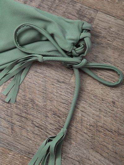 Tasselled Halter Bikini Set - ARMY GREEN M Mobile