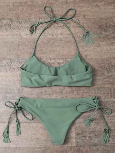 Tasselled Halter Bikini Set - ARMY GREEN S Mobile
