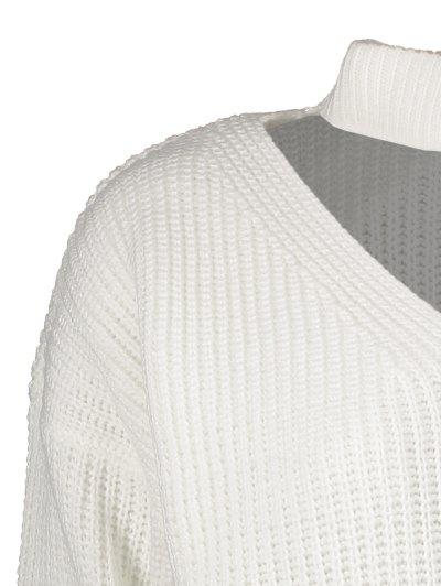 Ribbed Zipper Choker Swater - WHITE ONE SIZE Mobile
